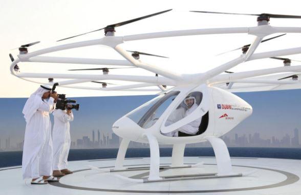 Dubai Crown Prince Sheikh Hamdan bin Mohammed bin Rashid Al Maktoum is seen inside the flying taxi in Dubai, United Arab Emirates. Credit: REUTERS/Satish Kumar