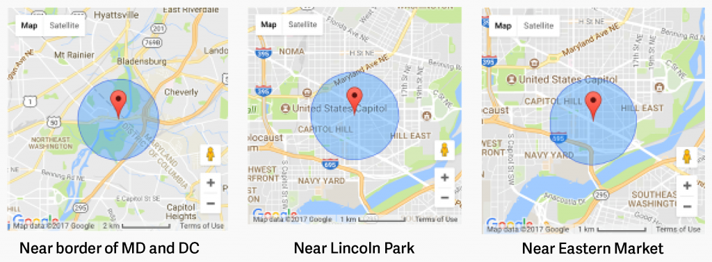 A cell-tower location sent to Google from an Android device