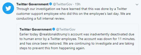 Twitter on Trump account deactivation
