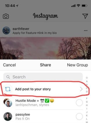 Screenshot Re-share post to Story
